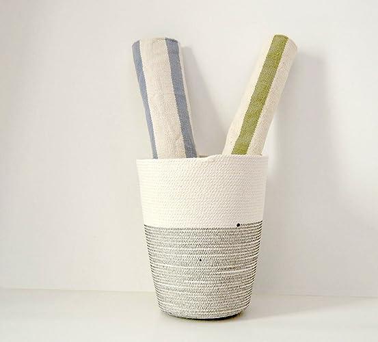 Cesto de algodón XXL bicolor: negro y blanco natural