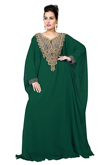 7238f0c4c09aa2 BEDI S UAE STYLE WOMEN S FARASHA MAXI ARABIC ISLAMIC KAFTAN LONG DRESS - ONE  SIZE - BOTTLE GREEN (KAF-2940-BG)  Amazon.co.uk  Clothing