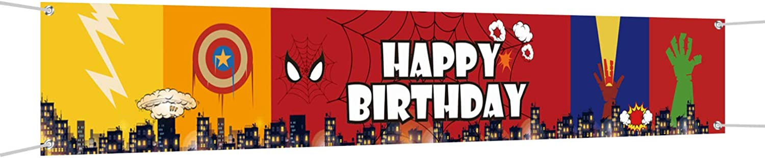 Large Superhero Theme Happy Birthday Banner, Superhero Birthday Party Supplies Decorations for Both Outdoor Indoor (9.8 x 1.6ft)