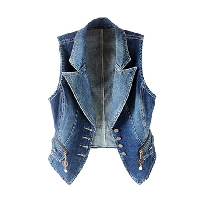 d3039bc6cd Primavera Senza Maniche Donna Gilet di Jeans Plus Size 3XL Moda Casual Tops  Suit Collar Gilet Donna Denim Short Giacche Donna