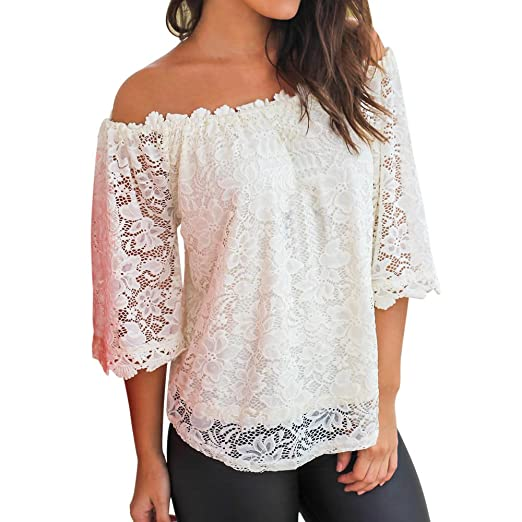 02b51ad1186a74 SSYUNO Women Ladies Off Shoulder Lace Tops 3/4 Sleeve Boat Neck T-Shirt  Blouse at Amazon Women's Clothing store: