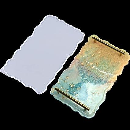 DRWhem Resina Silicone Stampi Piatto in Agata Geode Grande con Bordi con 2 Misurini in Silicone per Decorativo Fai da Te Stampo Vassoio del t/è del caff/è
