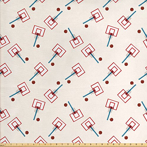 Ambesonne Basketball Fabric by The Yard, School Basketball Court Cartoon Style Collage Competition Sports, Decorative Fabric for Upholstery and Home Accents, Blue Vermilion and Brown