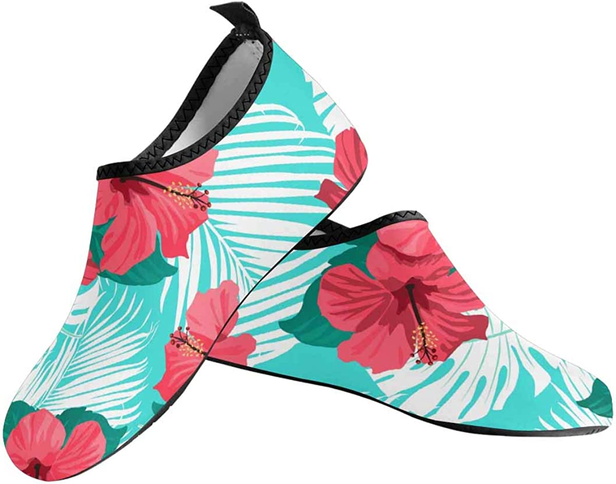 INTERESTPRINT Mens Water Sports Shoes Tropical Flowers Aqua Shoes for Beach Swim Surf Yoga Exercise