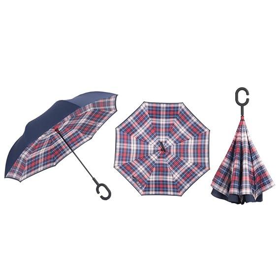 KAYI paraguas reversible de doble capa a prueba de viento UV protección C manejar paraguas plegable invertido: Amazon.es: Hogar