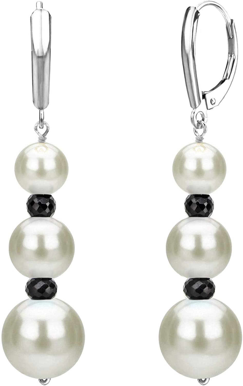 Lever-back Earrings with Graduated Freshwater Cultured White Pearl and Gemstones in 14k Gold or Silver