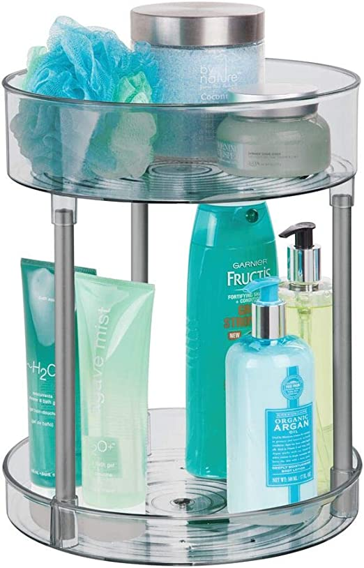 cremas y medicinas mDesign Juego de 2 plataformas giratorias para cosm/éticos Base giratoria redonda para el ba/ño Elegante organizador de maquillaje para productos de belleza rosa claro
