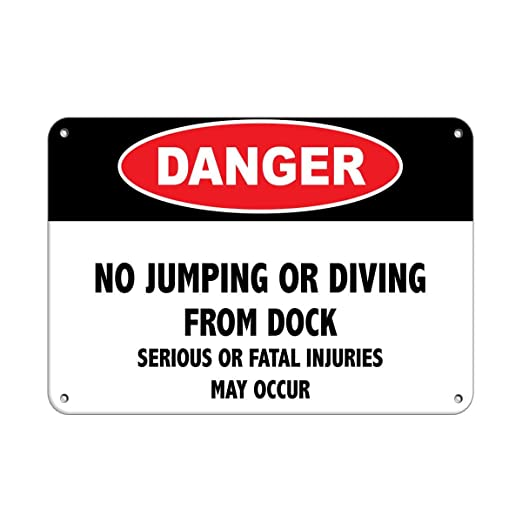 Shunry No Jumping Or Diving Placa Cartel Vintage Estaño ...