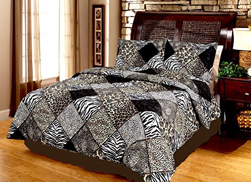 Safari Brown Black Leopard Cheetah Zebra ANIMAL PRINT PATCHWORK 3 Piece QUILT SET (3pc Queen - And Print Zebra Cheetah