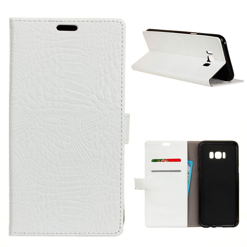 MEIRISHUN Samsung Galaxy S8 Plus Case, Crocodile Skin PU Leather Wallet Style Leather Case Flip Folio Book Case Wallet Cover Samsung Galaxy S8 Plus - White