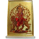 Padma Craft Durga Goddess of Power Desk Dashboard Gold Acrylic Frame Art Hindu Altar Yoga Meditation Accessory Gift