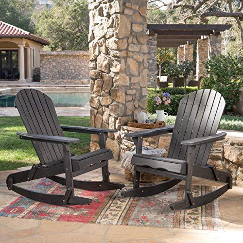 (Great Deal Furniture 304056 Estelle Outdoor Dark Grey Finish Acacia Wood Adirondack Rocking Chairs (Set of 2))