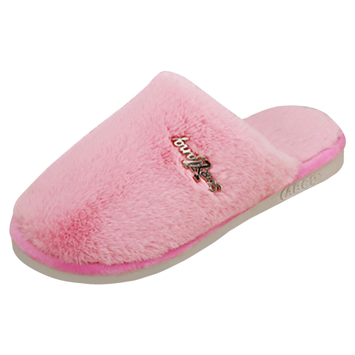 Sasairy Cotton Home Shoes Non-Slip Warm Fur Indoor House Slippers for Men or Women