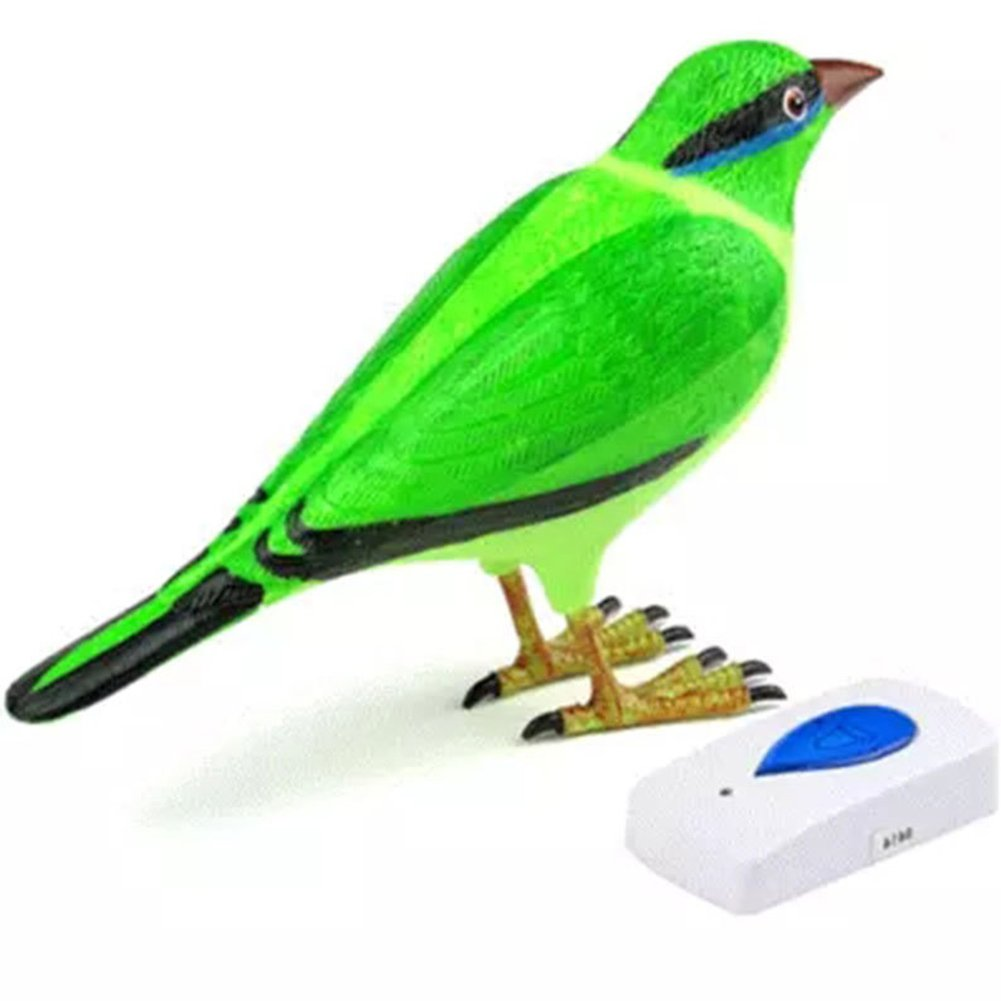 Home Wireless Bird Remote Control Chime Digital Doorbell Alarm Batteries Powered (Green)
