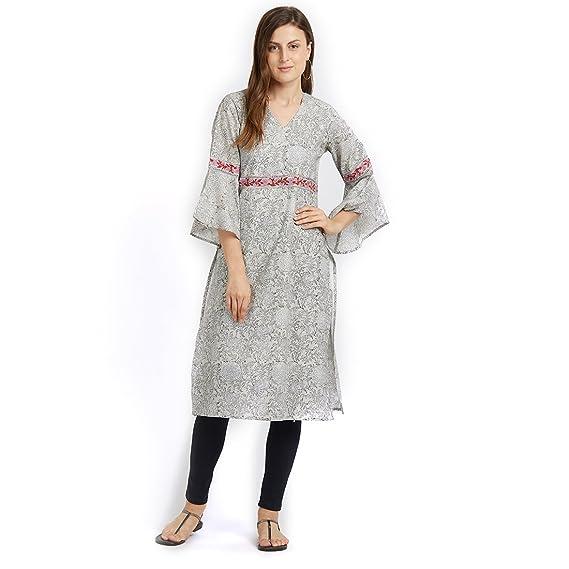 Isha-Studio Printed Cotton Kurti for Women - Bell Sleeves