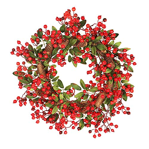 NQXXN 23 Inch Christmas Wreath, with Lush Pine Cone Red Berries Front Door Christmas Wreath, Home/Office/Wall/Wedding/Festival - Berry 963