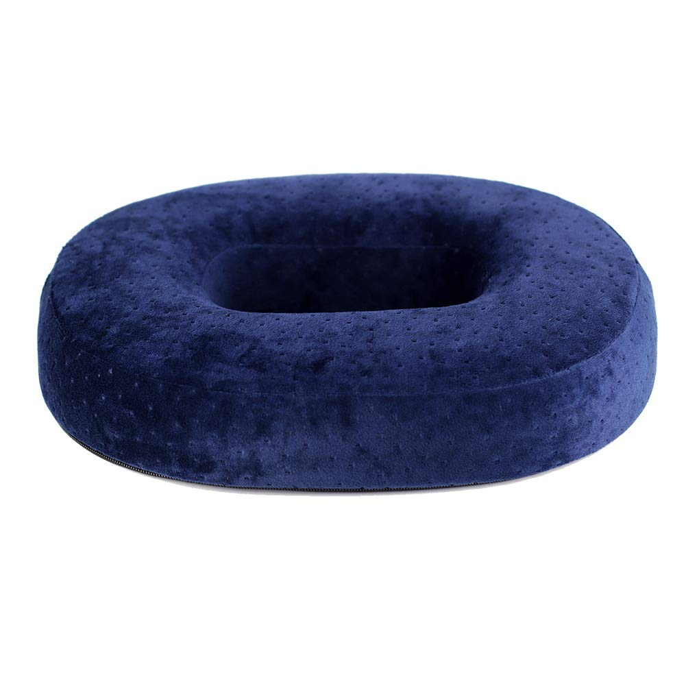 Donut Seat Cushion Memory Foam Reduces Pressure Ideal for Haemorrhoid and Piles Sufferers, Coccyx Pain, Post Natal and Post Surgery Pain Relief & Comfortable (Navy)