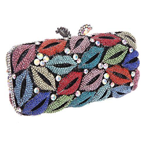 Shining Purse Shape Clutch Lips Handbag Ladies Rhinestone For Studded Black Bonjanvye dXtIxww