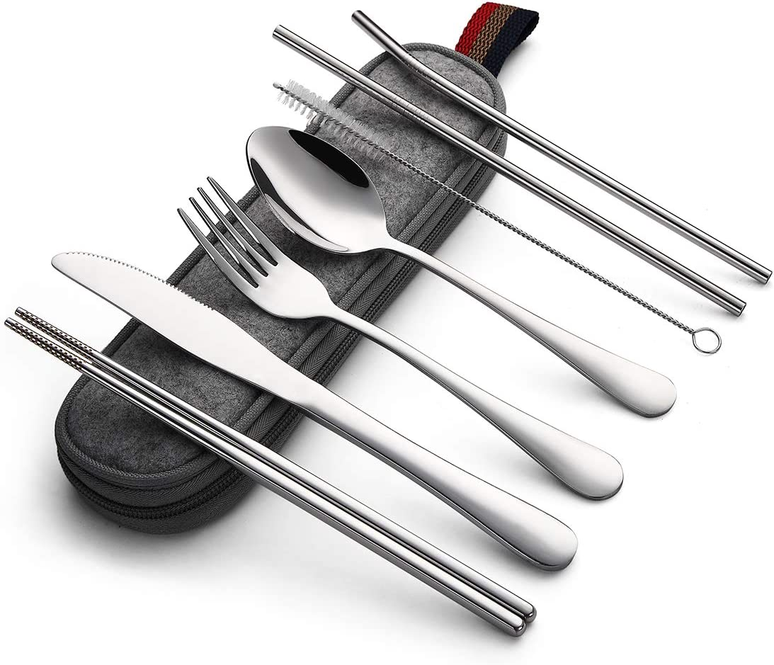 Devico Portable Utensils Daily bargain sale New sales Travel Camping Cutlery Set 8-Piece in