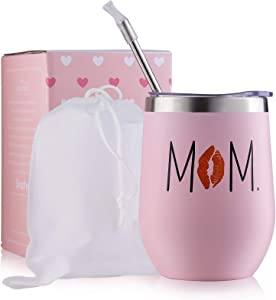 Mom Gift From Daughter and Son 12OZ Insulated MamaTumbler Personalized 18/8 Steel Vacuum Travel Mug Women Birthday Anniversary Mothers Day Present for Wife New Mother 2021 Est