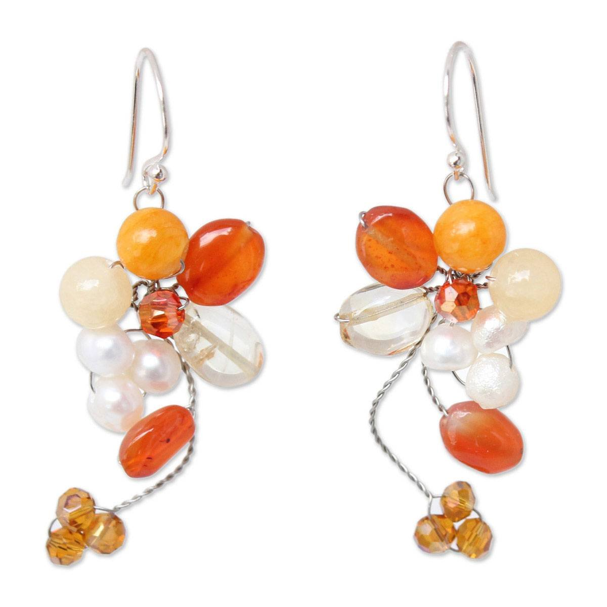 NOVICA Multi-Gem Cultured Freshwater Pearl .925 Sterling Silver cluster earrings, 'Radiant Bouquet'