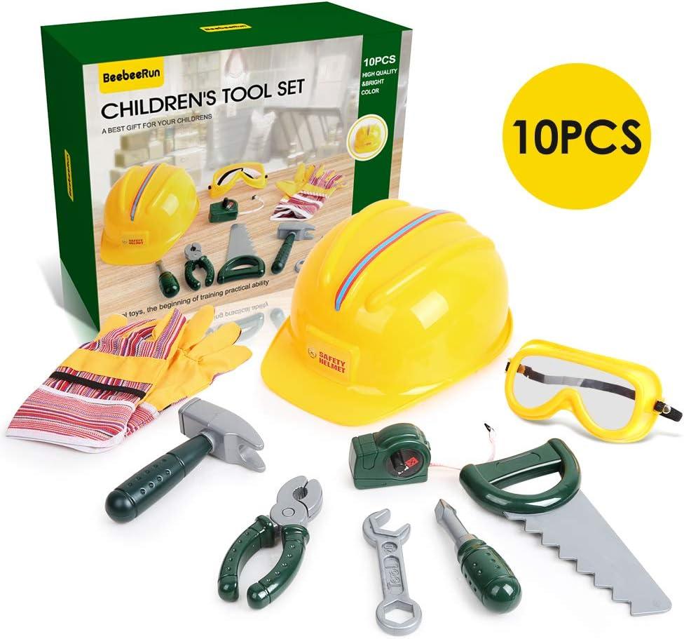 BeebeeRun 10 Piezas Herramientas de Juguete Juegos de Imitación con Casco de Seguridad Gafas Protectoras Y Numerosos Accesorios Niño Regalo Educativo de Juguete para Niños Niñas 4 5 6 años de Edad