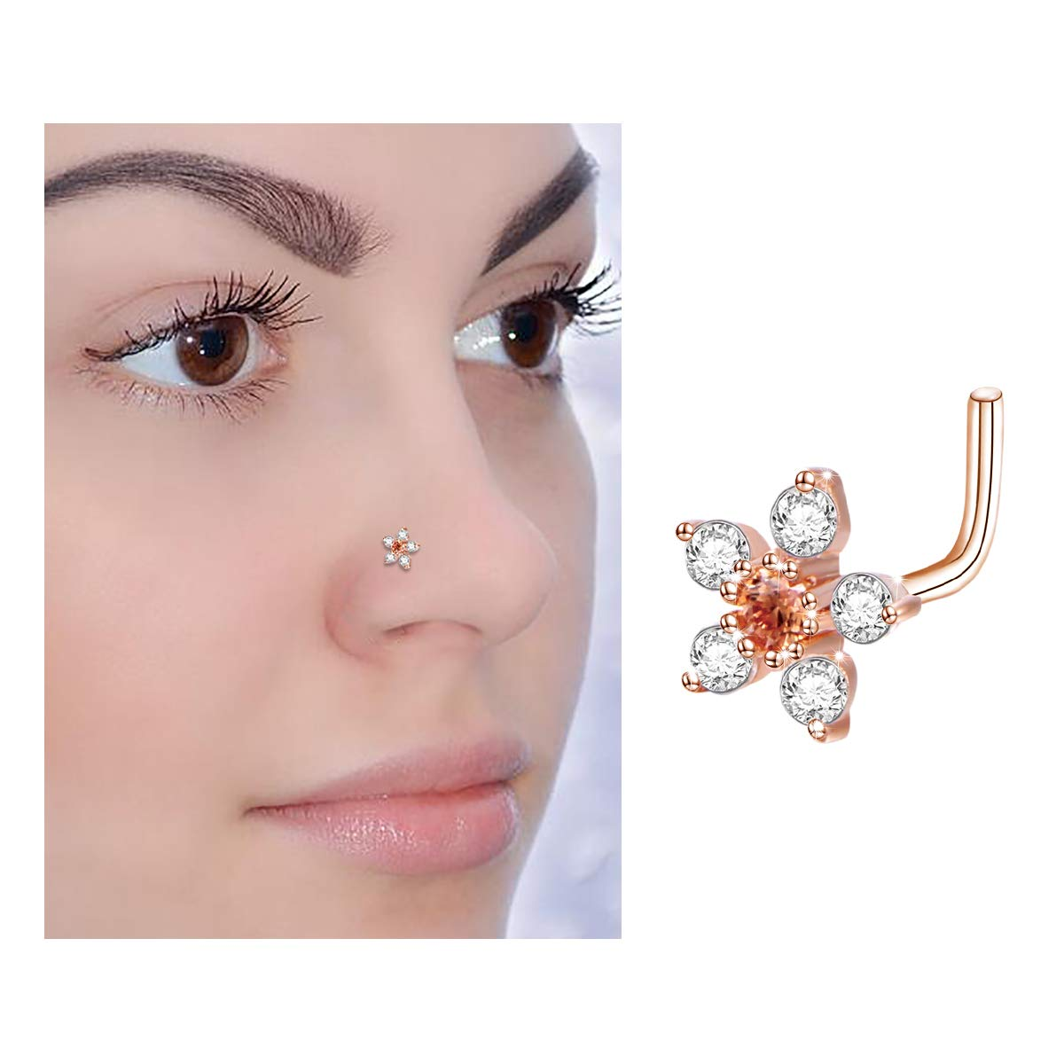 20G Sterling Silver Flower Nose Stud L Shape Ring Body Jewelry with Big Bling Two-Tone 6-CZ Flower Top Harmonyball Jewelry G9ANS1807009A3