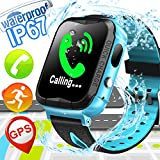 Kid Smart Watch Phone with GPS Tracker - Waterproof Kids Smartwatch for Boy Girls with Cell Phone SOS Anti-lost Camera Game Children Outdoor Sport Swim Run Wrist Watch for Summer, Blue