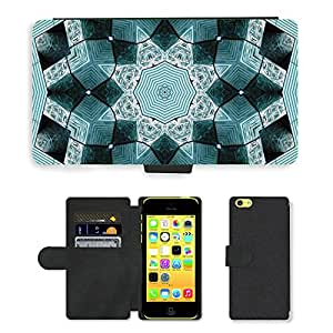 PU Cuir Flip Etui Portefeuille Coque Case Cover véritable Leather Housse Couvrir Couverture Fermeture Magnetique Silicone Support Carte Slots Protection Shell // M00158593 Fondo azul abstracto geométrico // Apple iPhone 5C