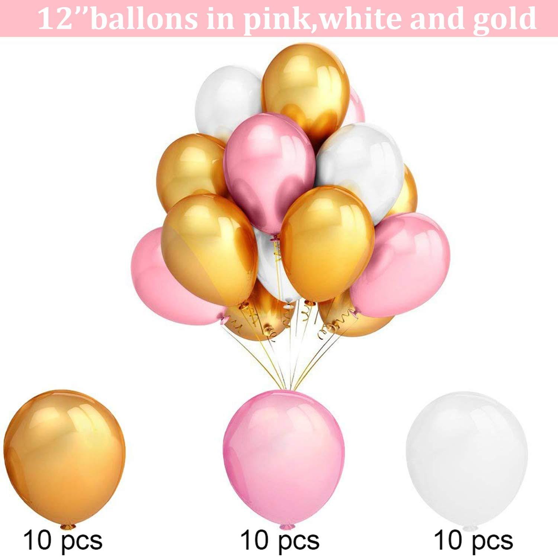 Wabenb/älle Wei/ß Rosa Deko Geburtstag M/ädchen Happy Birthday Girlande Dekoration mit 30pcs Ballon Hook Geburtstagsdeko Wimpelkette Erster Geburtstag,Partyset Kindergeburtstag Luftballons Rosa Gold