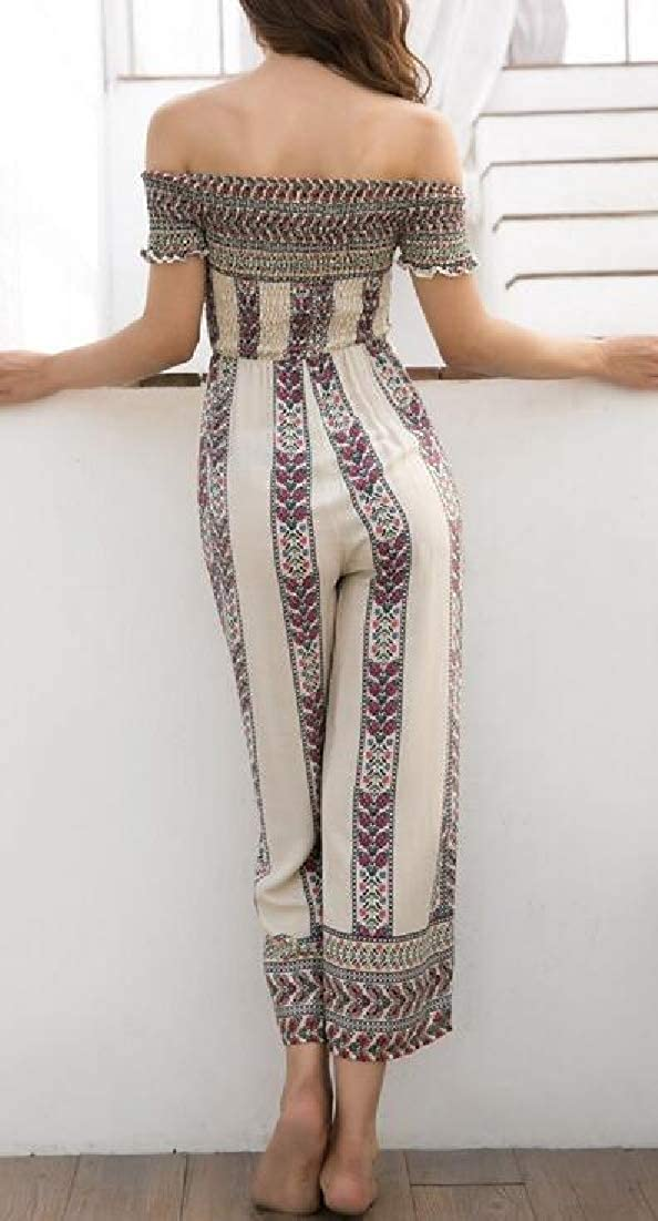 Hokny TD Womens Summer Boho Floral Print Wide Leg Palazzo Long Jumpsuit Romper