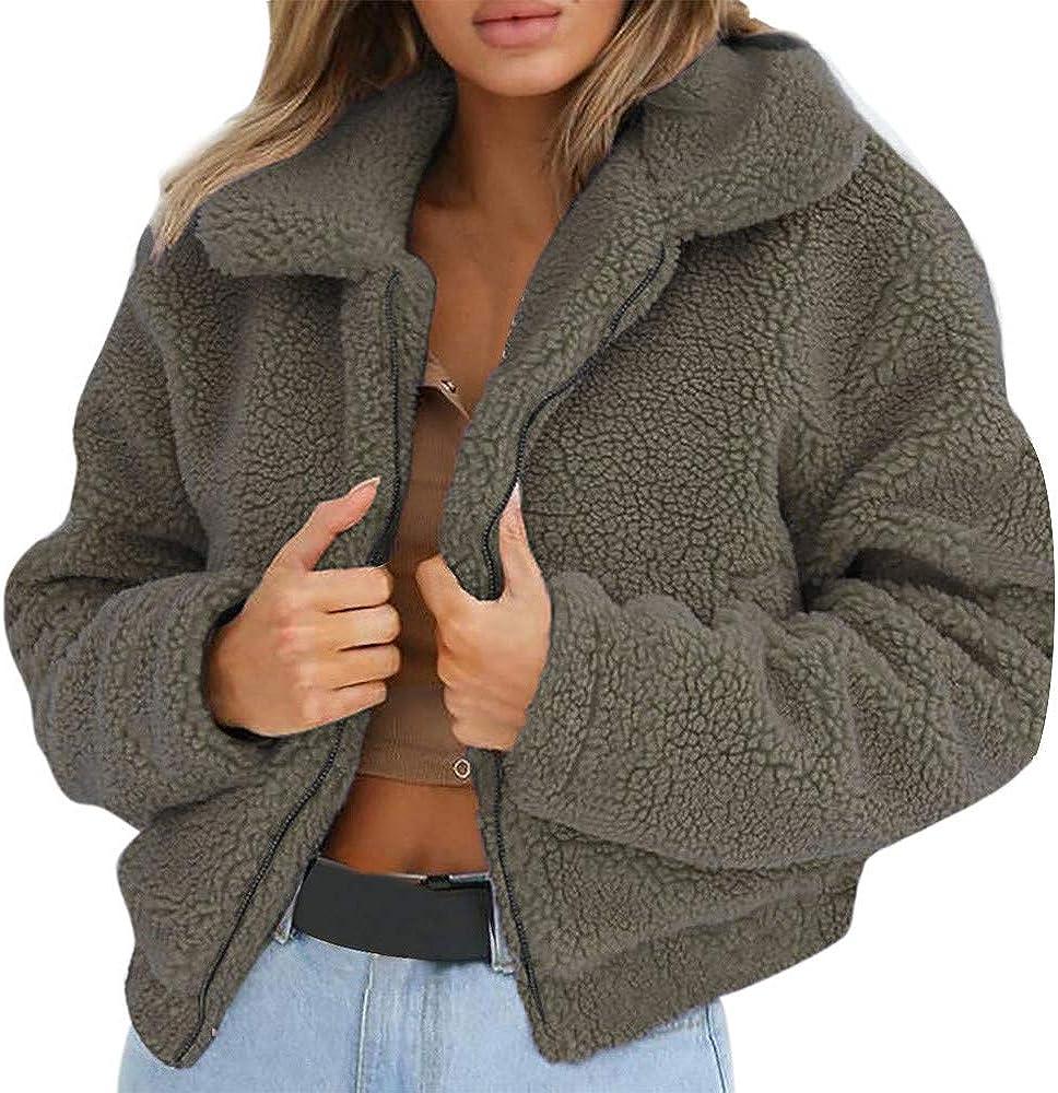 Baigoods Womens Ladies Warm Artificial Wool Coat Zipper Jacket Winter Parka Lamb Cashmere Collar Sherpa Outerwear