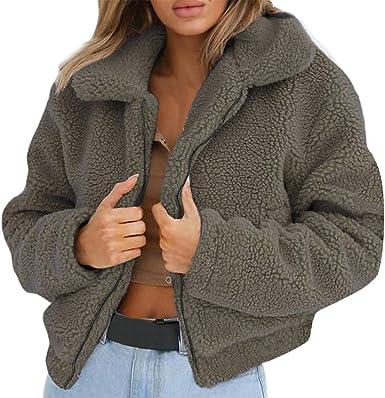 Womens Faux Shearling Sweatshirt,NEWONESUN Winter Warm Wool Zipper Pockets Cotton Coat Outwear Casual Pullover