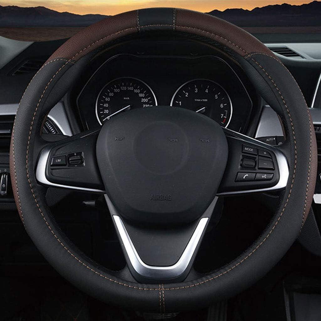 SHX fxp Leder Universal Auto Lenkradbezug Durchmesser 36-42 cm Atmungsaktiv Komfort Haltbarkeit Sicherheit Anti-Rutsch Farbe : Beige, gr/ö/ße : 36cm