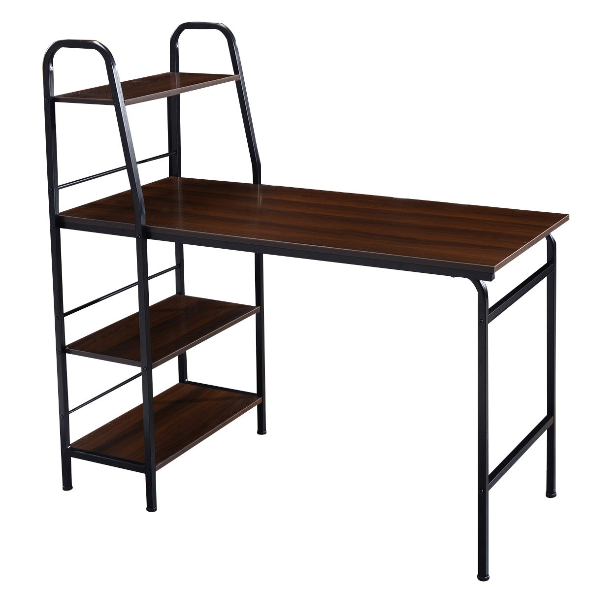 TANGKULA Computer Desk Multi-Function Adjustable Home Office Workstation Modern Style Writing Study Table with 4 Tier Bookshelves.