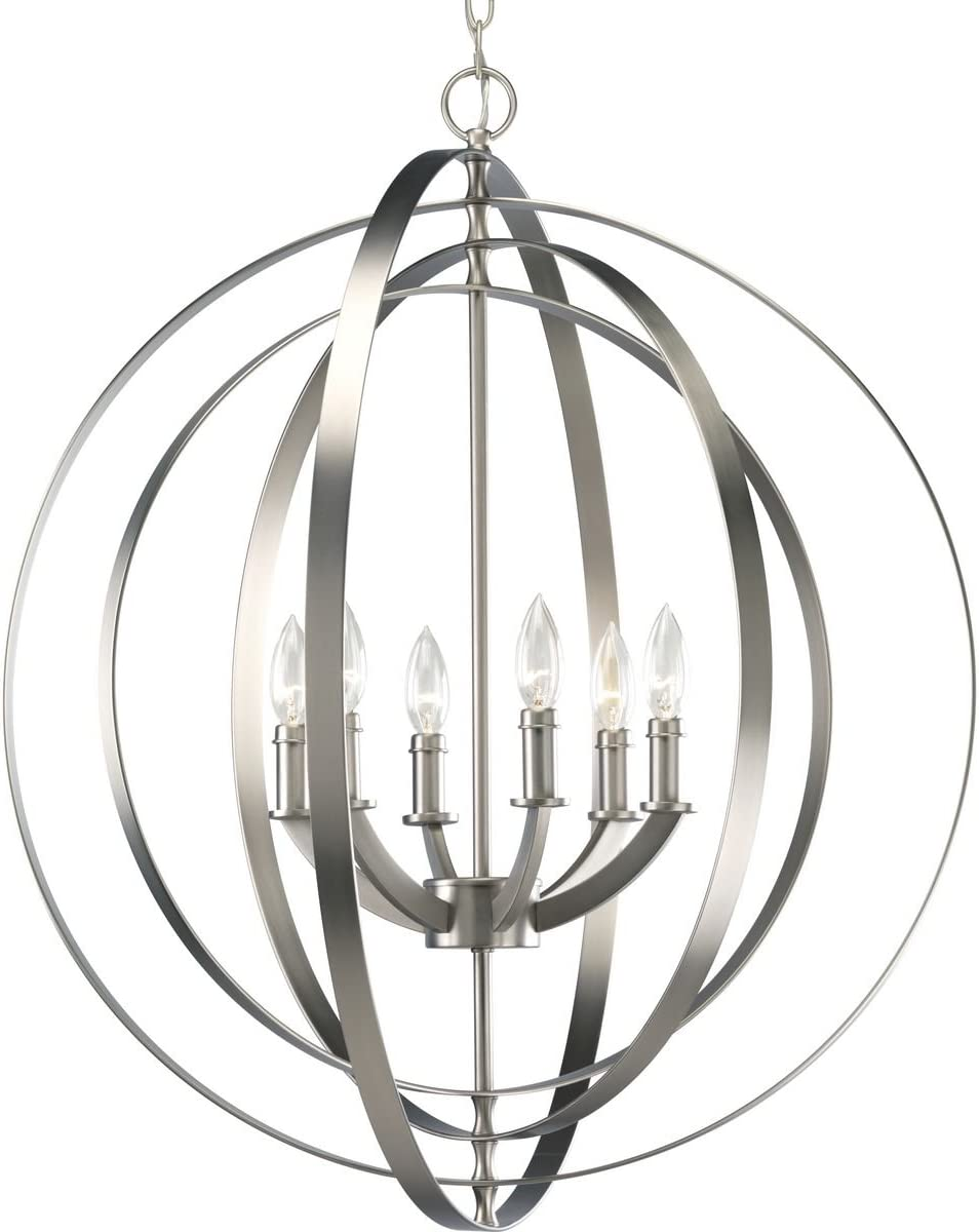 Equinox Collection Silver Six-Light Luxury Hanging Pendant Light