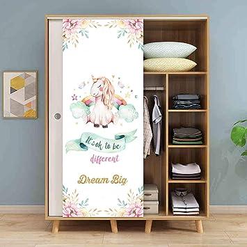 Rosa caballo unicornio simulación animal puerta pegatinas armario puerta corredera refrigerador renovación pegatinas impermeable 50 * 120 cm: Amazon.es: Bricolaje y herramientas