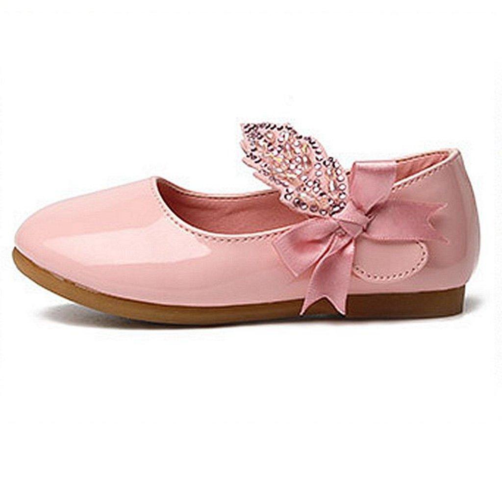 GIY Girls Mary Jane Ballet Glitter Slip On Front Bow Strap Ballerina Flat Shoes