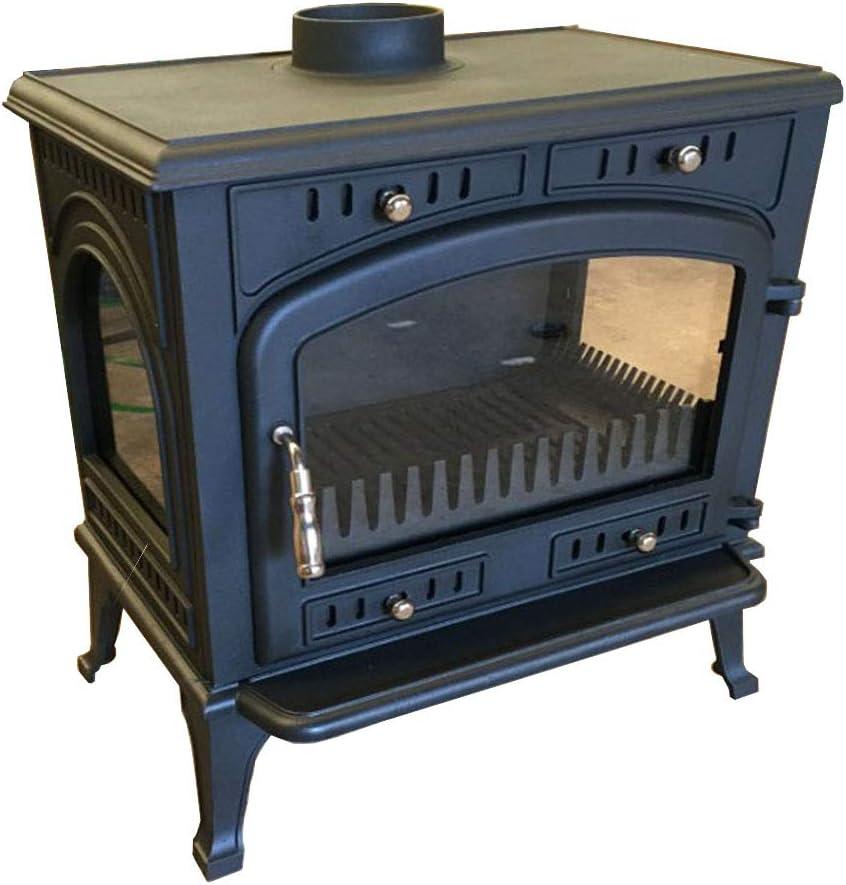 XLOO Estufa de leña de Alta eficiencia, hogar Agradable, Estufa de leña, Vidrio Resistente a Altas temperaturas de Tres Lados, Hierro Fundido Grueso, 160 kg, Adecuado para calefacción Interior, Deco