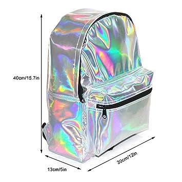 Mochila escolar de piel sintética holográfica a la moda marca Tia-Ve. Mochila de día holográfica colorida brillante.: Amazon.es: Hogar