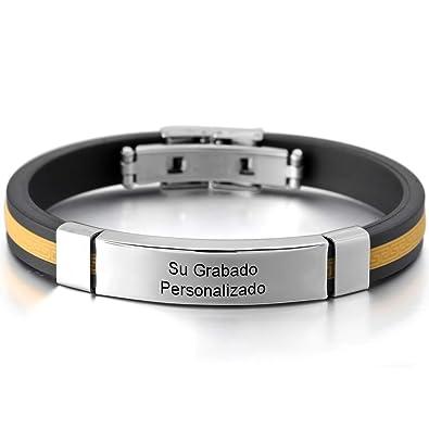 MeMeDIY Acero Inoxidable Plástico Caucho Pulsera Brazalete Brazalete Griego - Grabado Personalizado