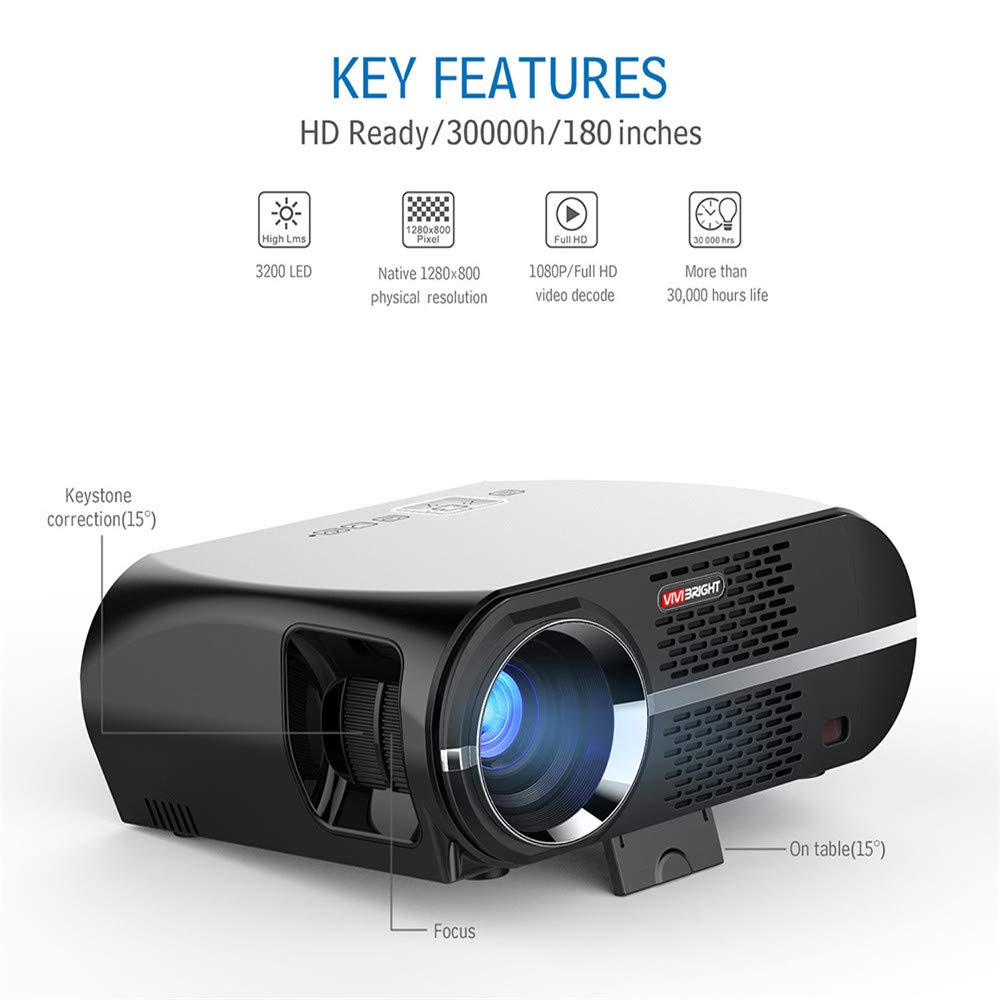 Amazon.com: QUARKJK 3200 lúmenes proyector 1GB+8GB Amlogic ...