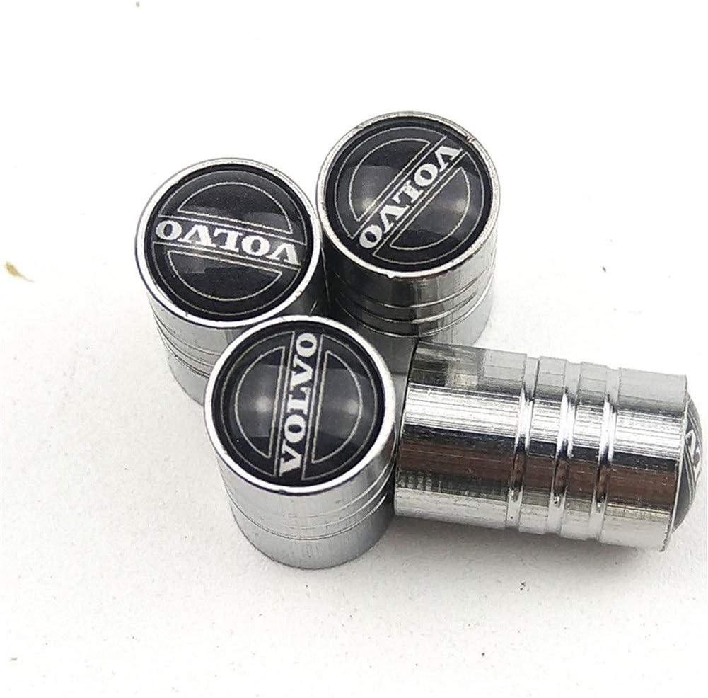 Tapas de rueda antirrobo neum/áticos de las ruedas del coche metal neum/ático de las v/álvulas de v/ástago de v/álvula de aire rosca ajustado Cove for Volvo Accesorios for el coche Color : Black A