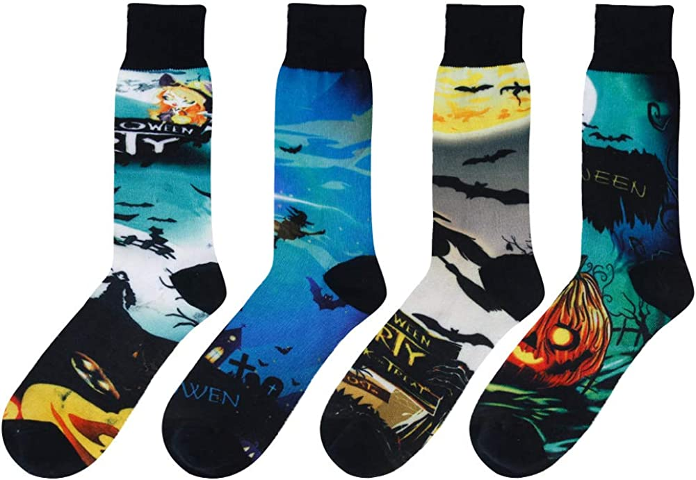 SUTTOS Elite Mens Fashion Pattern Fun Colorful Cotton Casual Dress Socks,4//2 Pairs with Gift Box