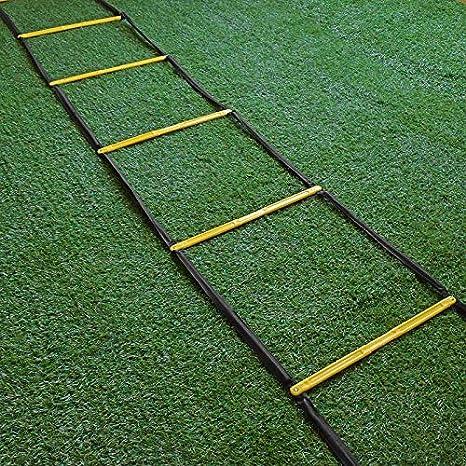 Escalera for agilidad - 8/10/12/16 peldaño de la escalera Escalera velocidad fútbol velocidad agilidad Equipo de entrenamiento, La escalera for el entrenamiento de fútbol, escalera de cuerda de salt: Amazon.es: Deportes y