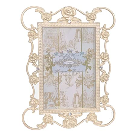 "4/"" x 6/"" Enchante Accessories Antique Rose Garden Table Top Picture Metal Frame"