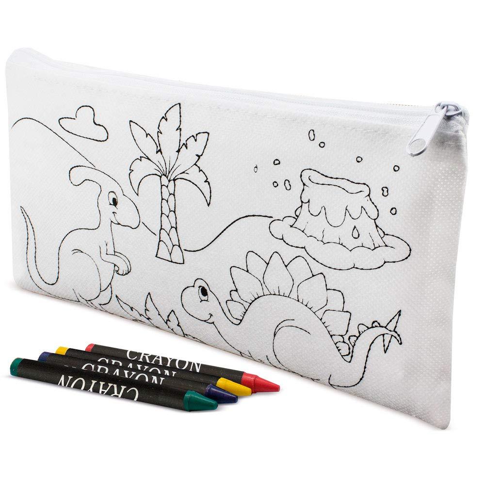 Include 5 Cere Incluse DISOK Lotto di 30 astucci per Bambini Dino Coloring Custodie per colorare la Scuola Casi Regali per Bambini in comunioni Feste Eventi