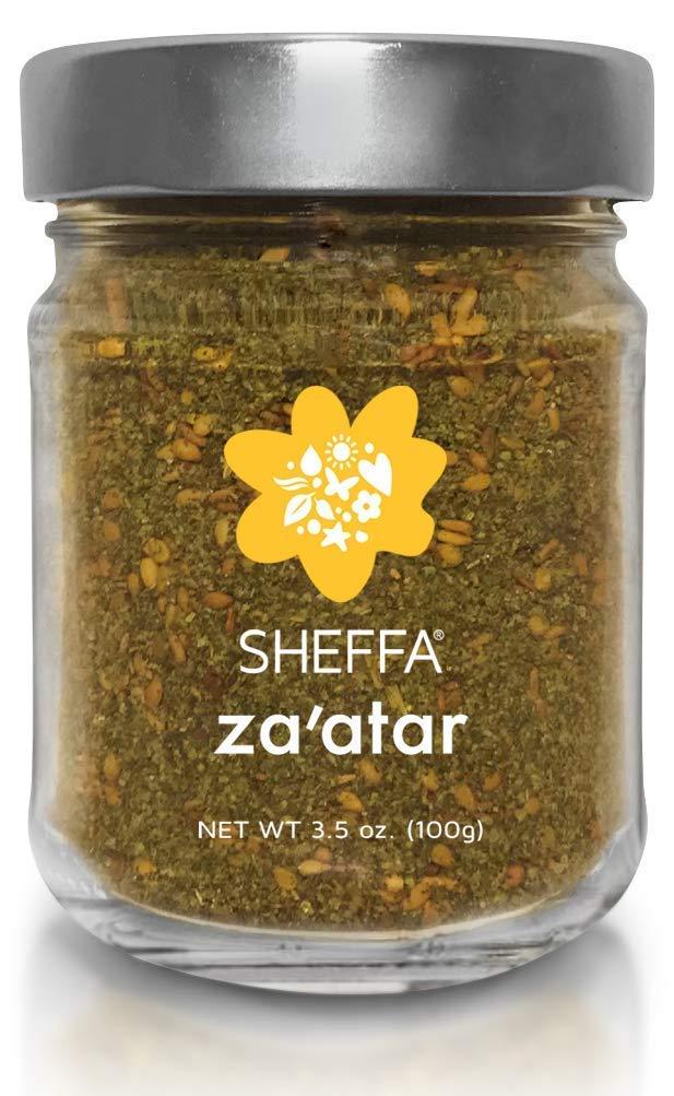 SHEFFA Zaatar Spice Blend Aromatic Hyssop Seasoning (3.5 oz glass jar) Traditional Middle Eastern Za atar - Fresh Zesty Zatar Mix of Thyme, Sumac, Sesame Seed, z zahtar za'atar zataar - Gluten Free