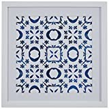 "Boho Blue and White Print Wall Art, White Frame, 14"" x 14"""