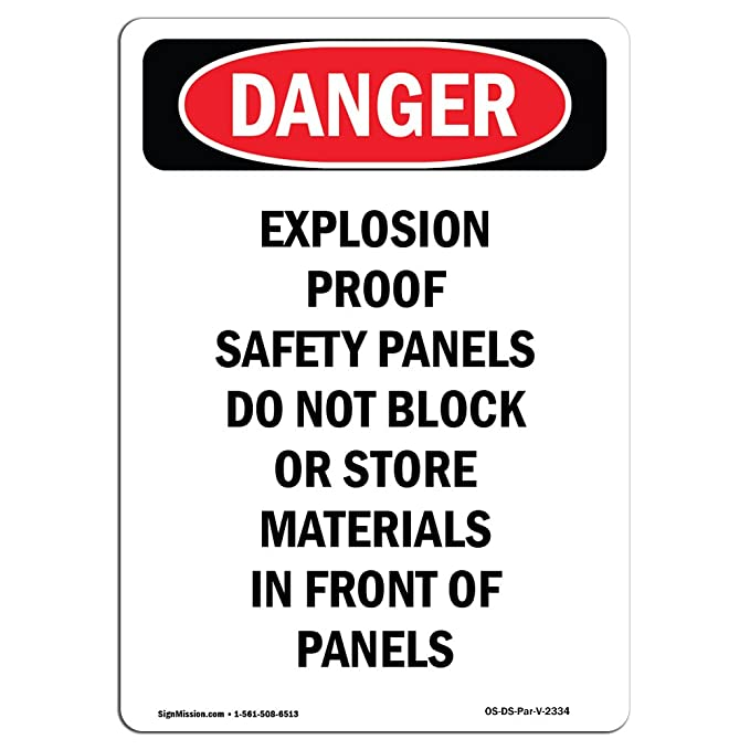 Amazon.com: OSHA Danger Sign - Explosion Proof Safety Panels Do Not Block | Choose from: Aluminum, Rigid Plastic Or Vinyl Label Decal | Protect Your ...